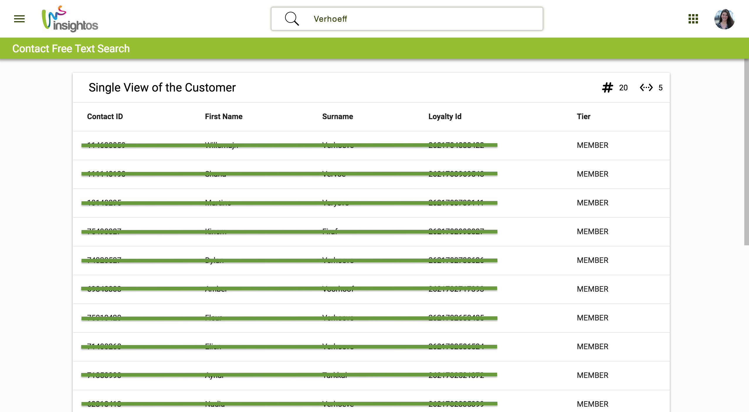 Customer Viewer - Free text Search