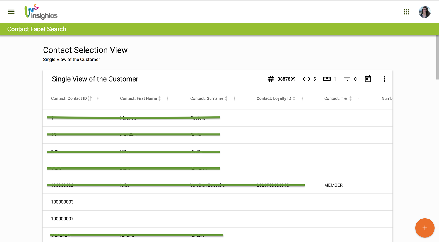 Customer Viewer - Facet Search
